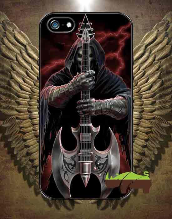 Rock чехол  Скелет с гитарой