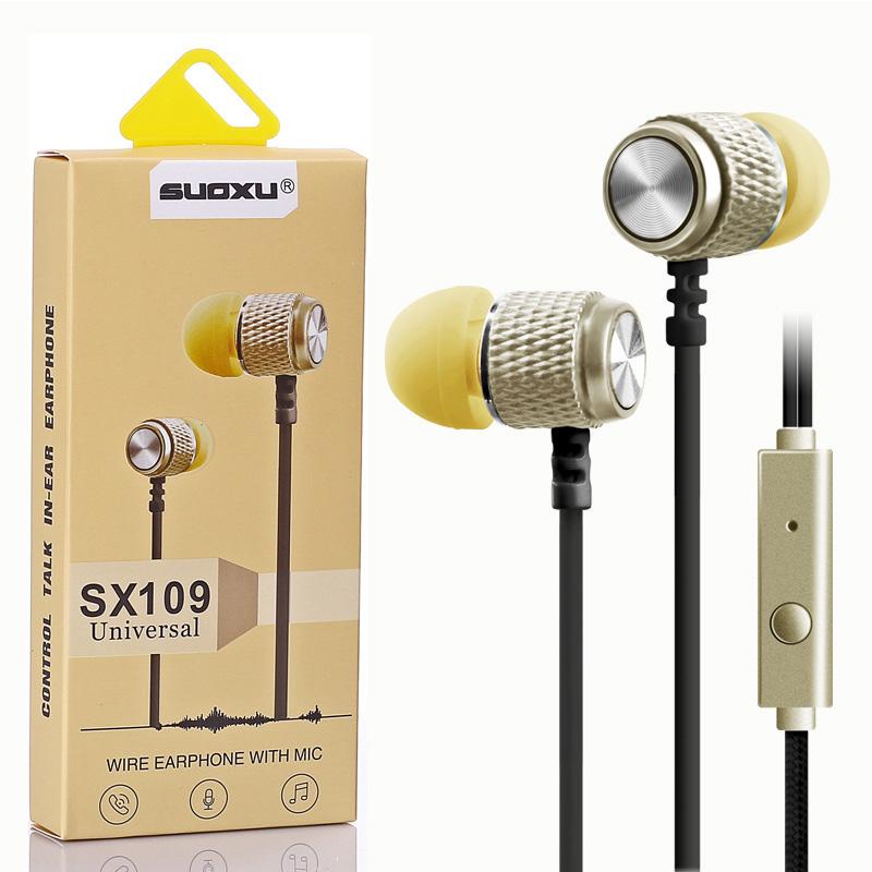 Вакуумные наушники SOUXU SX-109 с микрофоном и кнопкой приема звонка
